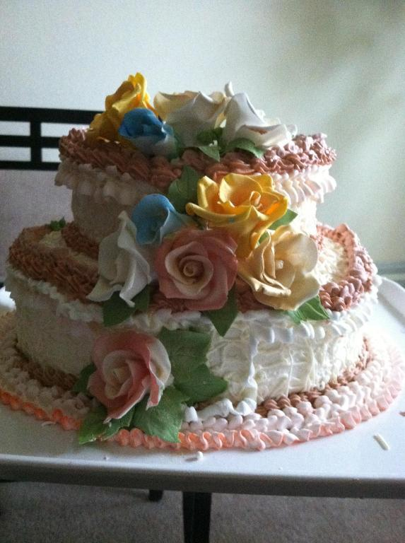 Buttercream cake with flowers