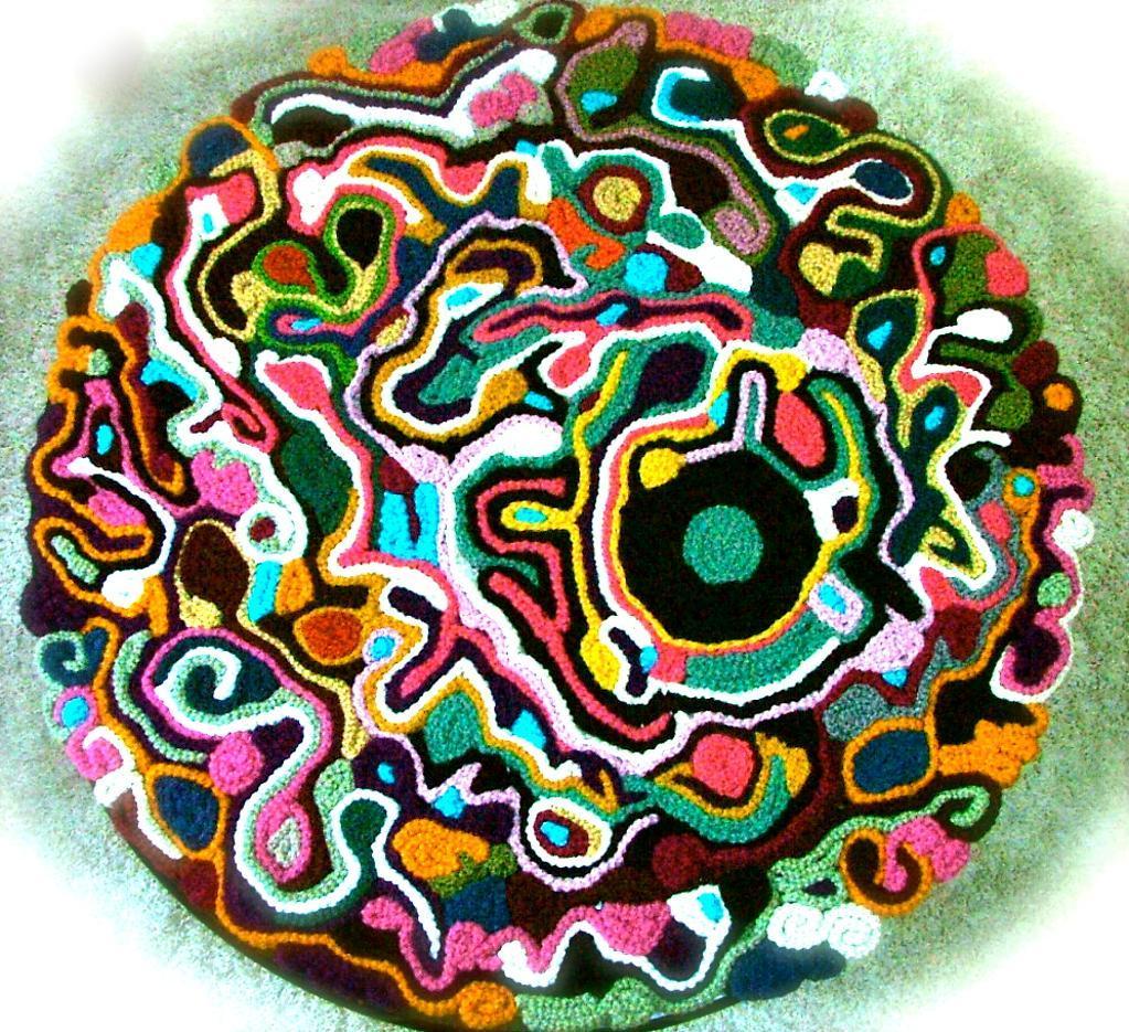 Freeform crochet rug