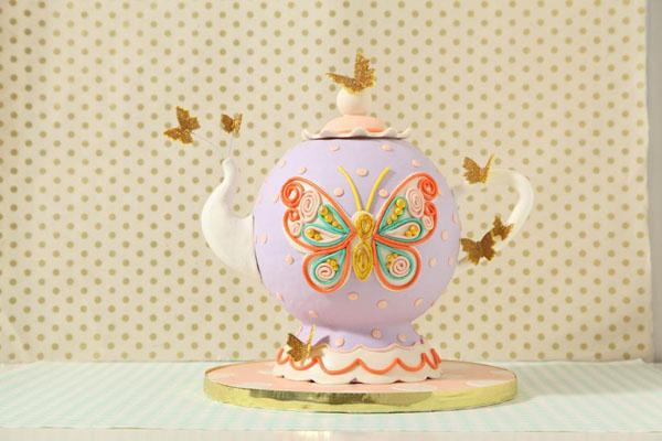 Beautiful Butterfly Birthday Teapot Cake