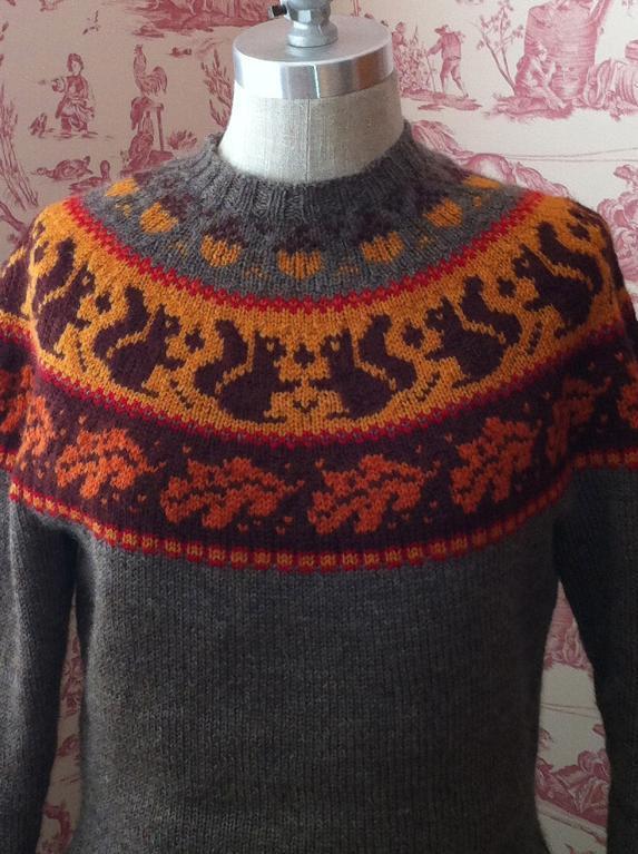 Blazing Folly customized knitted sweater yoke