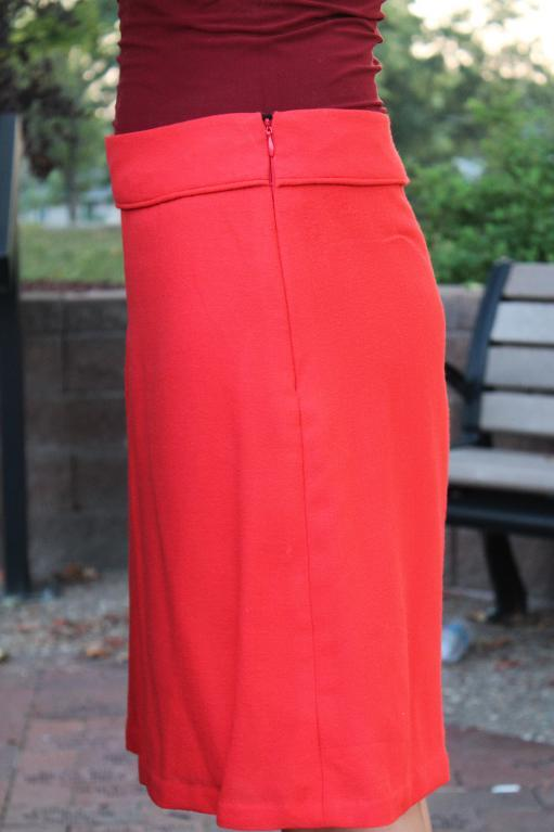 Red Wool Skirt with Yoke & Front Pleat