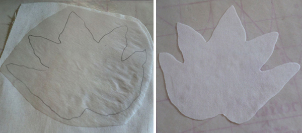 Drawing the appliqué design on the paper side of fusible web.
