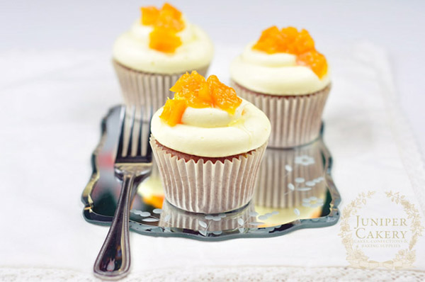 honey peach cupcake by juniper cakery