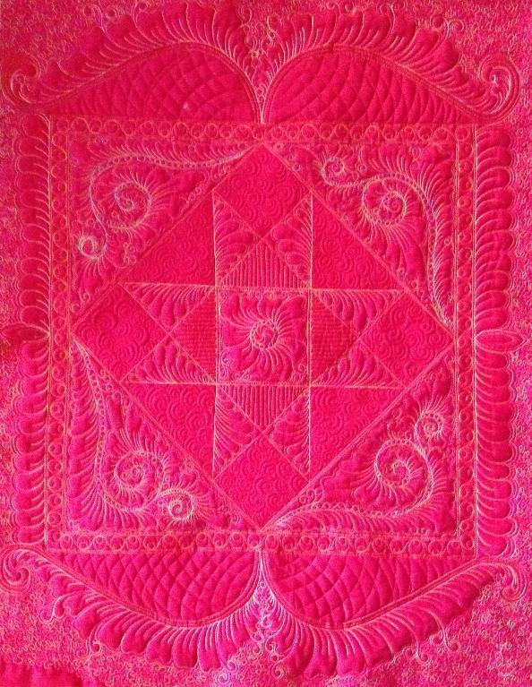 Pink whole cloth quilt