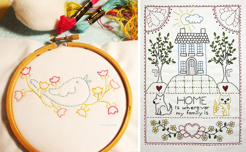 Little Bird and Home Sampler patterns from Bluprint members Threads on my Socks and Annie Beez Folk Art