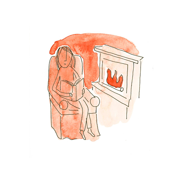 Cozy fire scene using orange