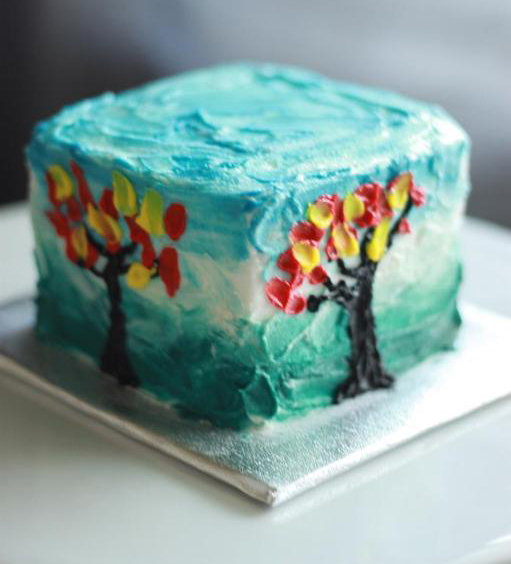 Tree cake with palette knife