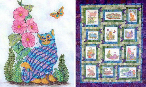 Plaid Cats in My Garden pattern by Black Cat Creations