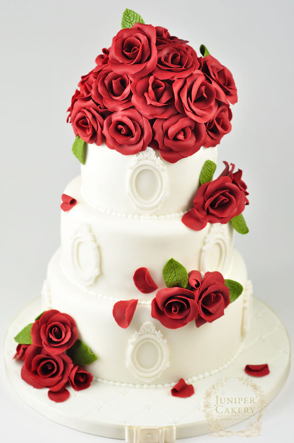 Red rose wedding cake by Juniper Cakery