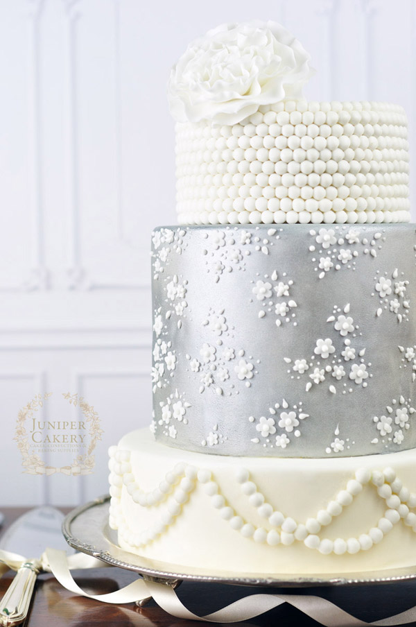 Silver lace wedding cake by Juniper Cakery