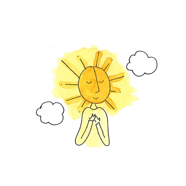 Bright sun illustration — Sunny is happy