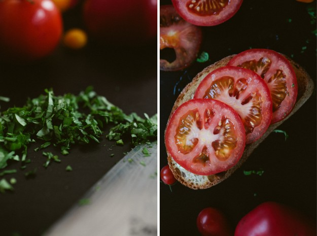 Tomato toast with basil butter