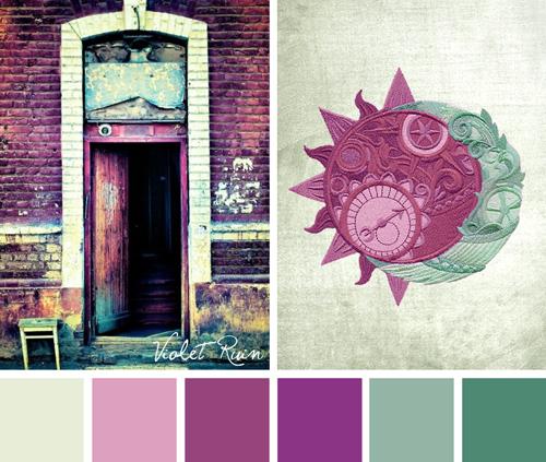 Clockwork Heavens Violet Ruin by Urban Threads