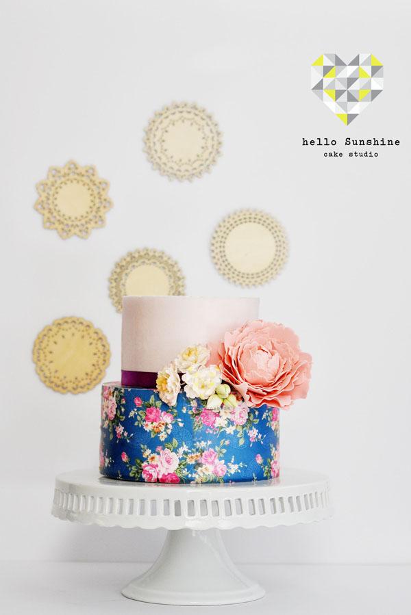 Stunning floral wafer paper cake