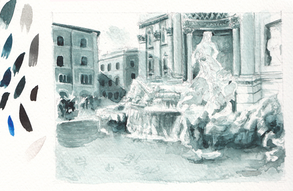 Fontana di Trevi monochromatic watercolor study