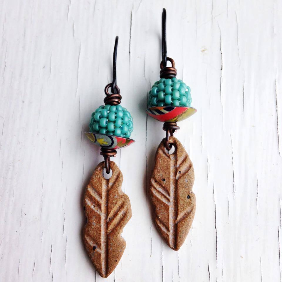 Handmade earrings featuring artisan beads and findings