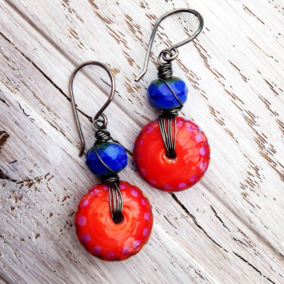 Handmade earrings featuring artisan beads and handmade sterling silver earwires from The Curious Bead Shop