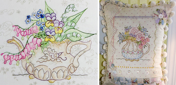 Teapot Bouquet pattern from Crabapple Hill Studio