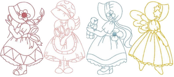 Sunbonnet Sue Redwork machine embroidery design for crayon coloring