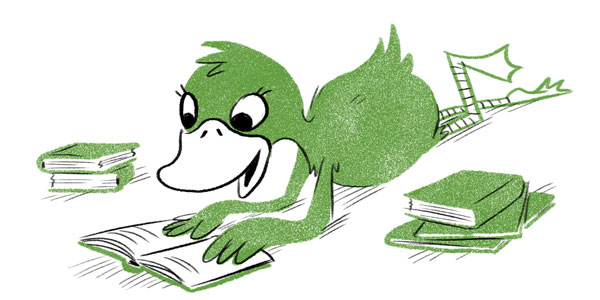 A duck reading books