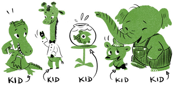 A line-up of anthropomorphized animal-kids
