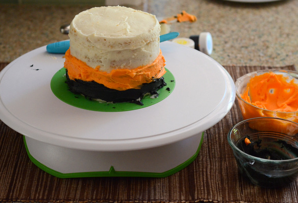 Black and Orange Striped Cake, coming together
