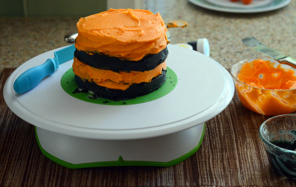 Black and Orange Striped Cake, ready for finishing touches!
