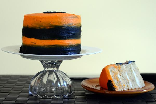 Beautiful Black and Orange Striped Halloween Cake