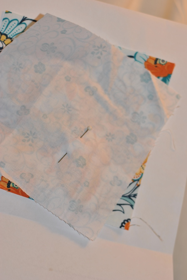 Placing paper on top of fabric