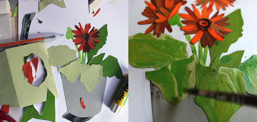 Collage of gerbera daisies
