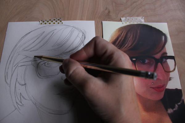 Drawing an outline of hair