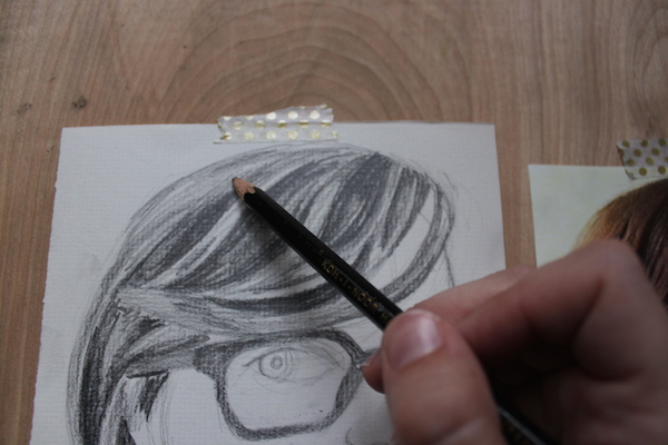 Shaded drawing of top of hair