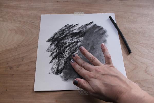 Blending charcoal drawing