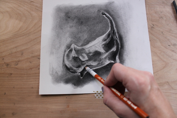Using compressed charcoal