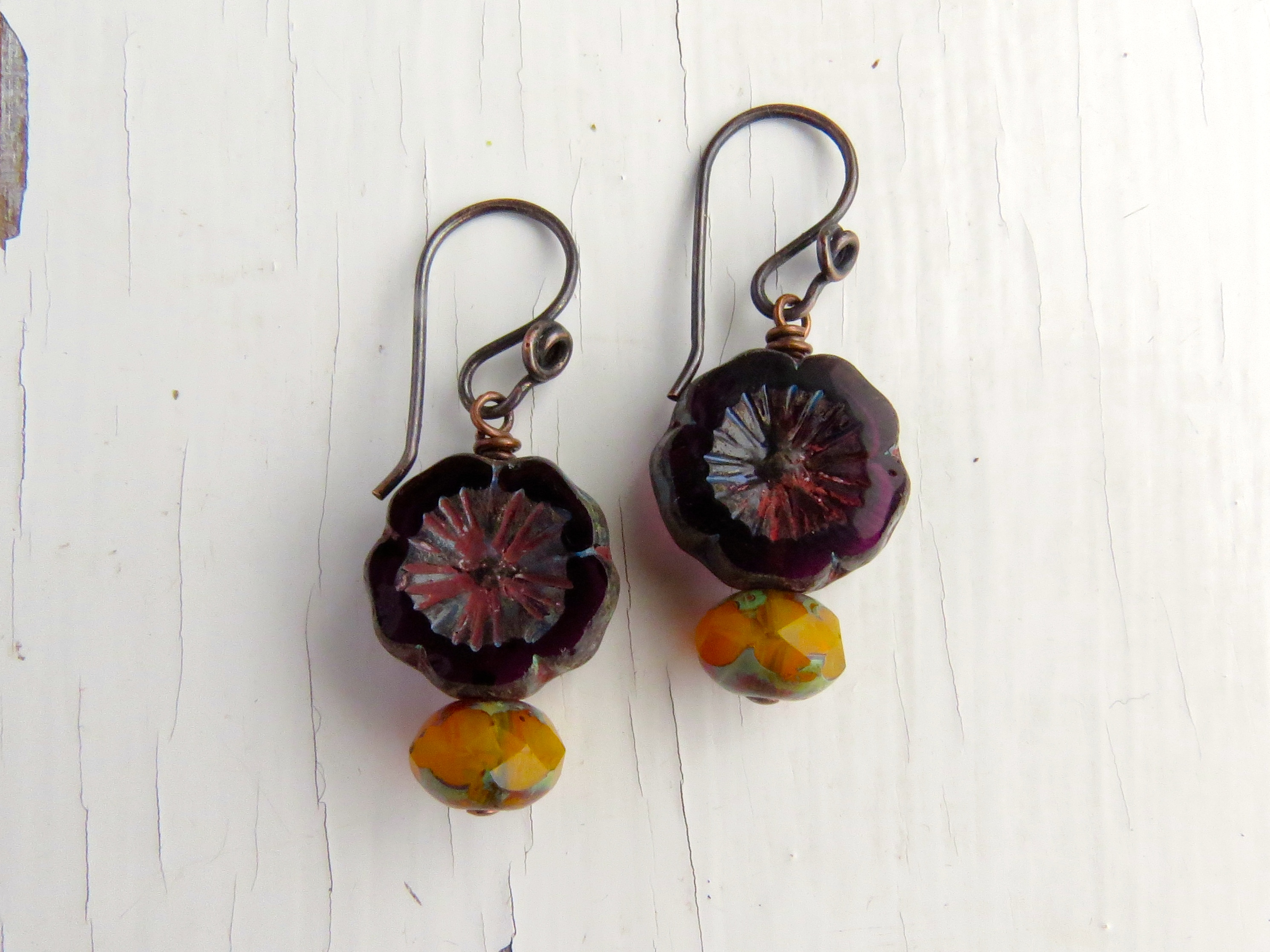 Handmade earrings with handmade copper earwires from the Curious Bead Shop
