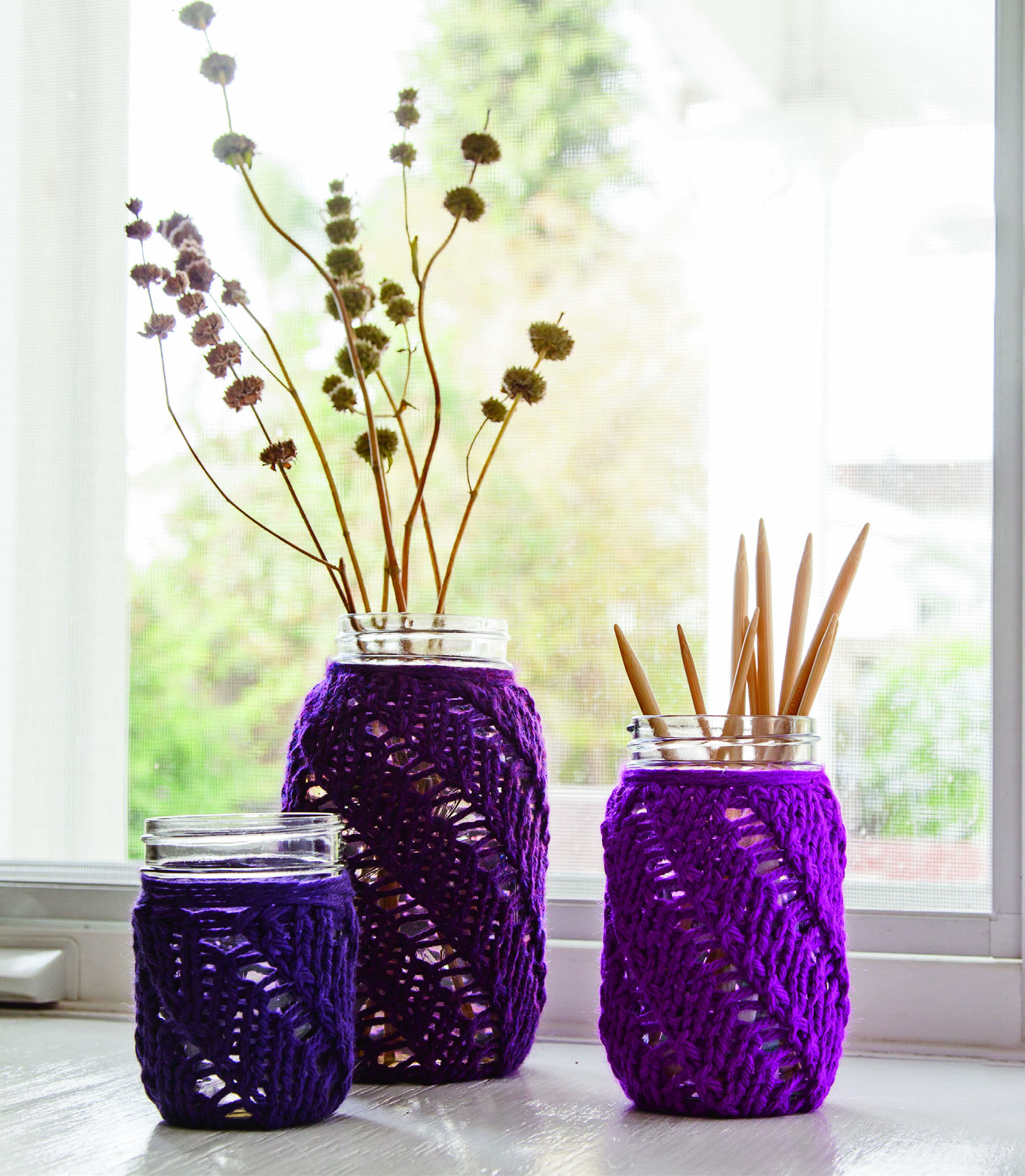 Knitted Jar Cozies from Chunky Knits