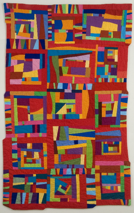 Crazy improvisational quilt in all colors