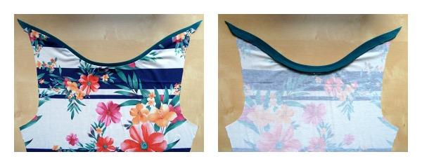 Stitched neckline binding