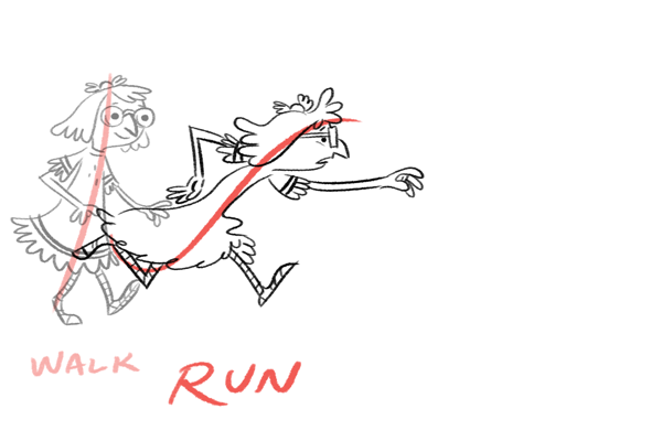 Line of action to emphasize motion: run