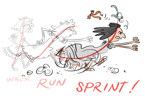 Line of action to emphasize motion: sprint!