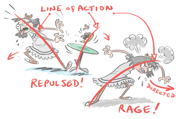 Line of action to emphasize emotion