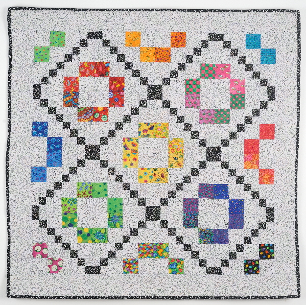 Rainbow Quilt with Black and White Blocks