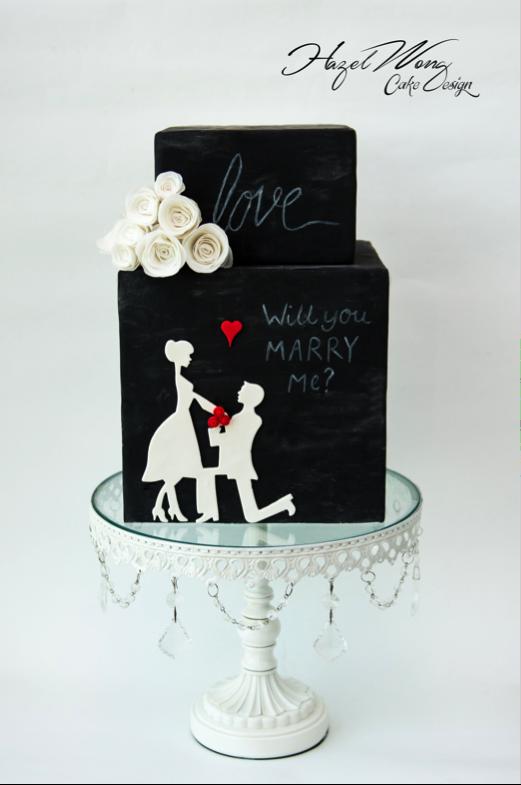 Beautiful engagement silhouette cake