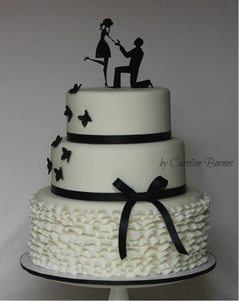 Engagement silhouette cake design