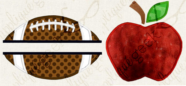 Football and apple from Applique Geek
