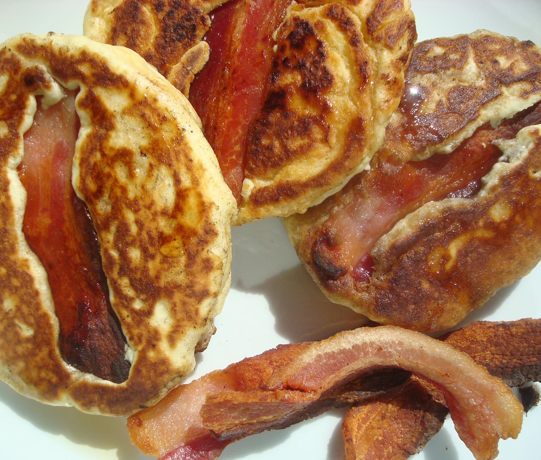 Filled with bacon, these pancakes are a breakfast delight