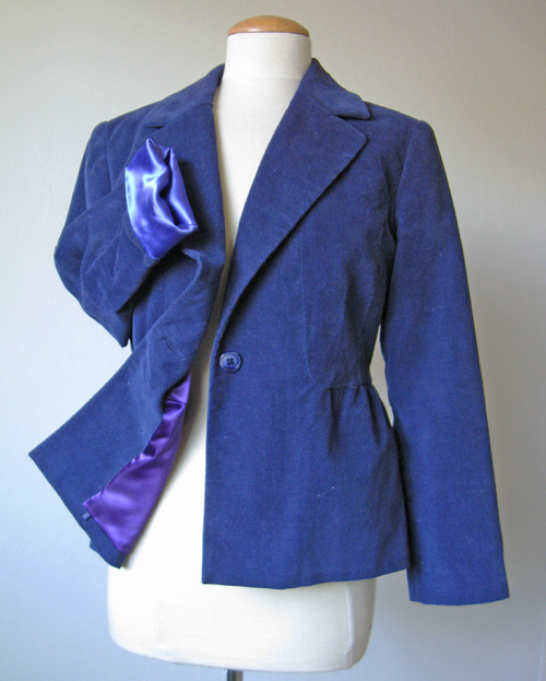 Satin lining in a purple jacket