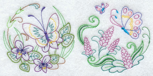 Butterfly rounds for machine embroidery