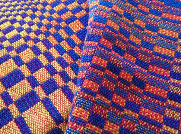 Blue and orange double weave blocks