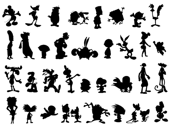 Bob Flynn's collection of famous cartoon silhouettes